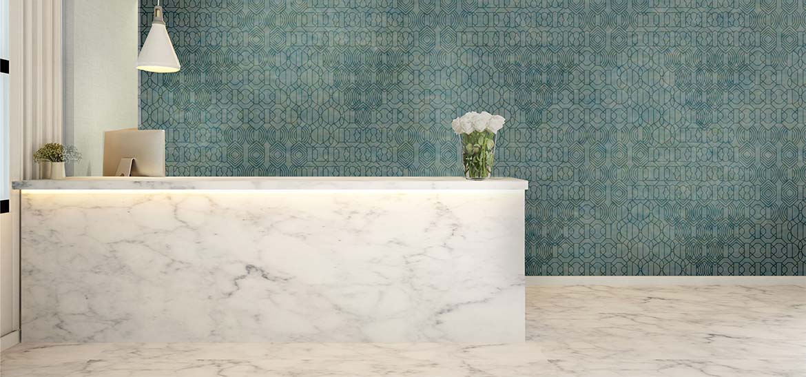Laser Etched Acoustical Wallcovering_Trellis_Bluebell